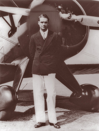 Howard Hughes in the 1940s with his new Boeing Army Pursuit Plane in Inglewood, California.