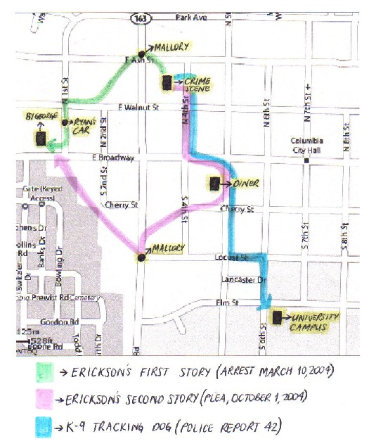 Map showing both of Erickson's routes and the K-9 tracking dog route.
