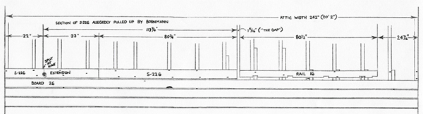 A diagram by Kelvin Keraga showing the alleged position of Rail 16 in the attic.