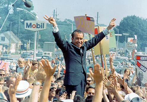 Nixon gives his trademark