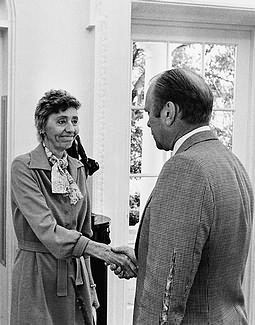 President Gerald Ford greeting Alice Olson in the Oval Office in 1975.