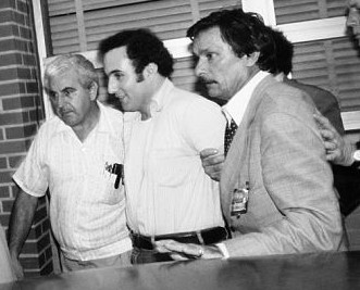Berkowitz arrested. Detective John Falatico in white shirt, Detective Ed Zigo in jacket