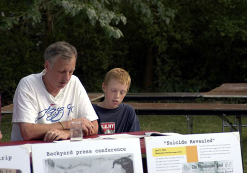 Olson family press conference, August 8, 2002, Frederick, Maryland. Eric Olson and his son, Stephan Kimbel Olson.