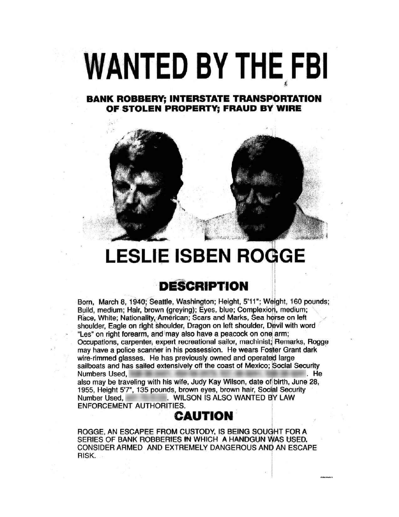 Original wanted poster from 1985 courtesy of D. Ray Barker