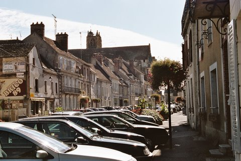 Main street, village of Villeneuve-sur-Yonne. It was here that Dr. Petiot murdered for the first time.