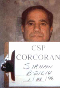 Sirhan Sirhan in a 1998 mug shot from the California Department of Corrections at Corcoran Prison