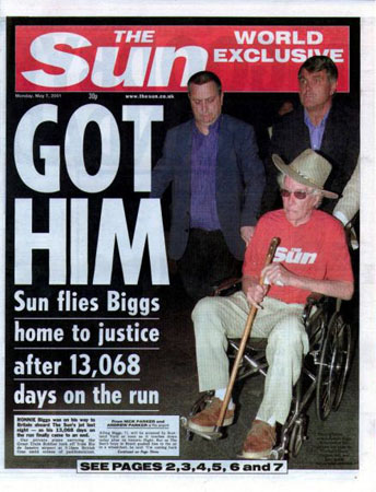 Sun newspaper on Biggs return