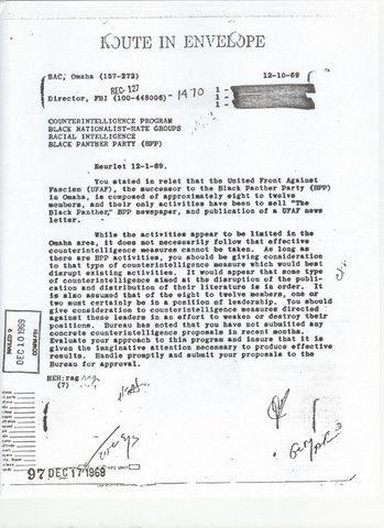 Memo From J. Edger Hoover To  Omaha FBI Field Office