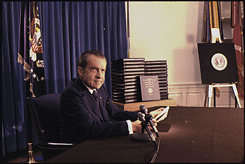 Richard M. Nixon press conference releasing the transcripts of the White House tapes, 04/29/1974.