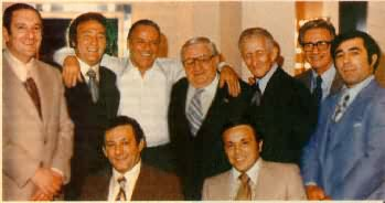 Frankie and the Boys 1976 - Left to right: Paul Castellano, Gregory DePalma, Sinatra, Tommy Marson, Carlo Gambino, Aladena Fratianno, Salvatore Spatola, Seated: Joseph Gambino, Richard Fusco